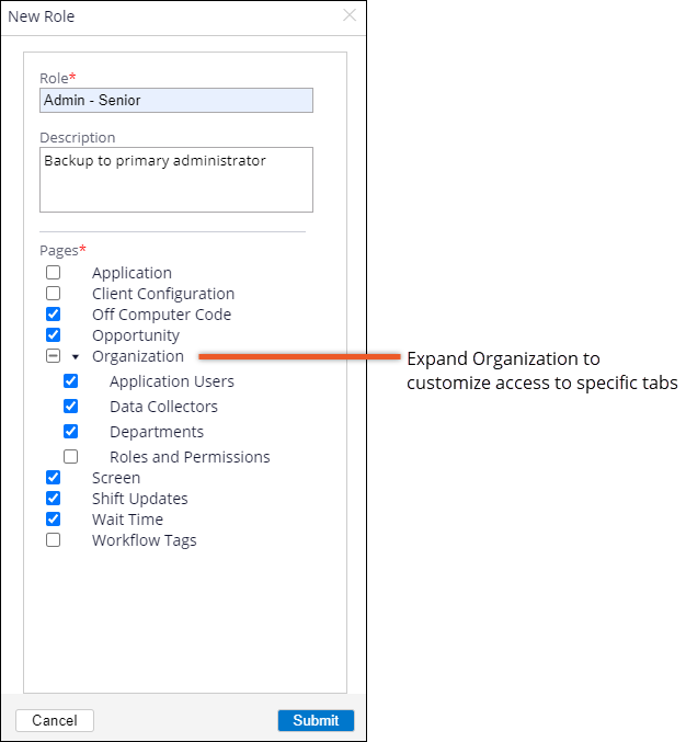 New Role popup that shows the selectable checkboxes for each admin page