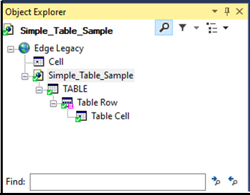 Example HTML table structure