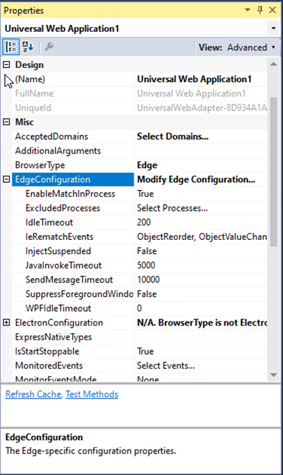 Microsoft Edge configuration properties