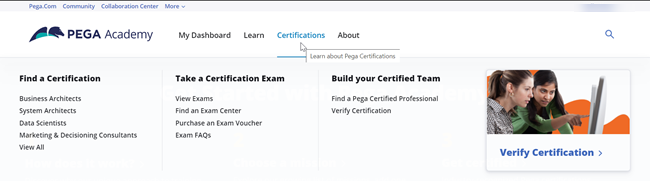 The Pega Academy Certifications page offers a menu of choices for using certifications in many ways.