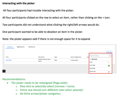 Image displays an example user testing report compiled by the author.