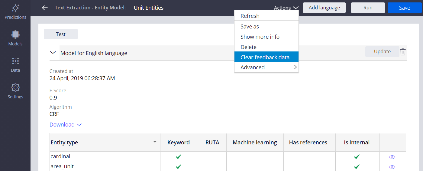 A model is open in Prediction Studio. The Actions menu is open and the Clear feedback data option is selected.