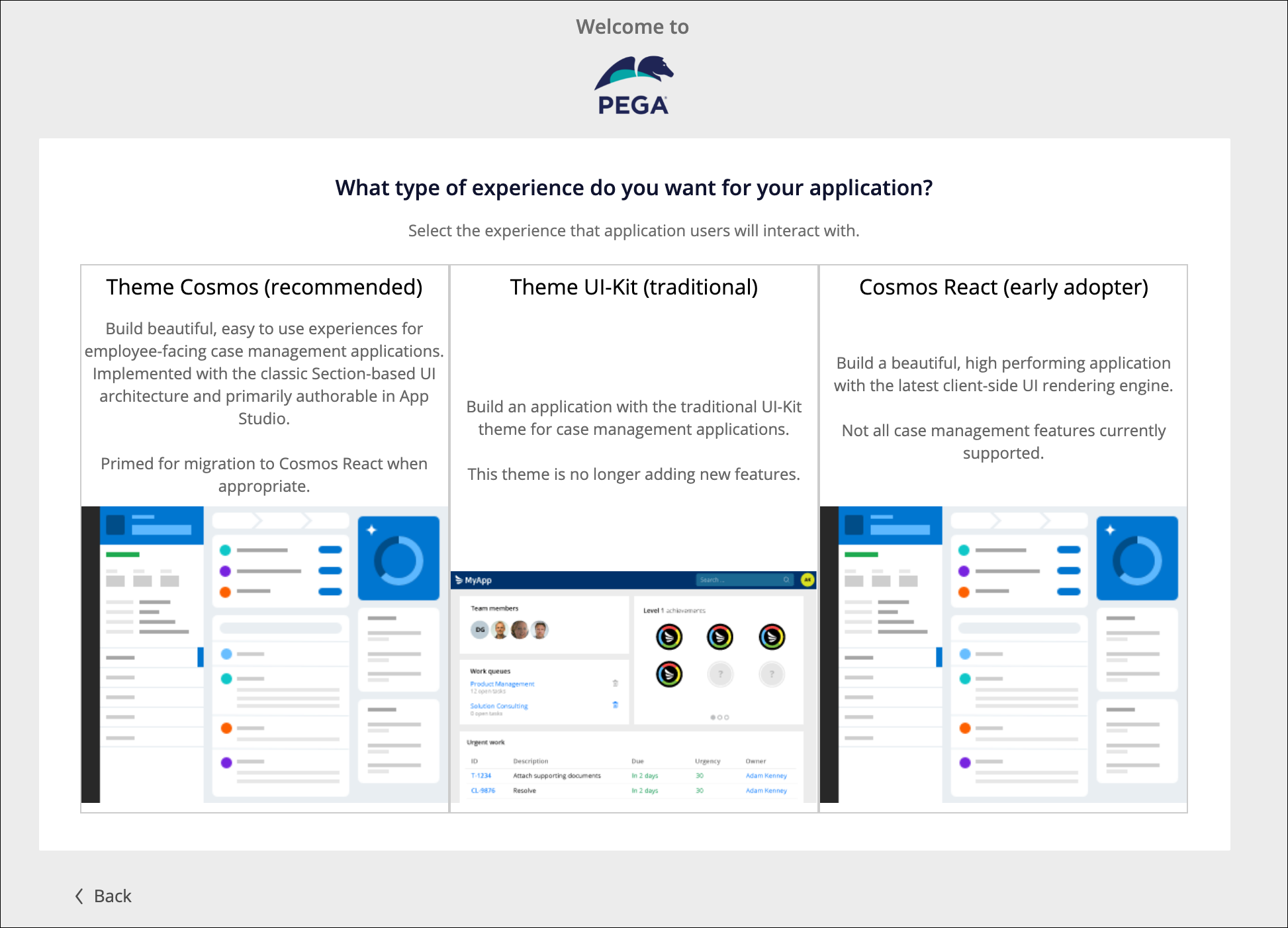 The new application wizard with three available options: Theme Cosmos, Theme UI-Kit, and Cosmos React.