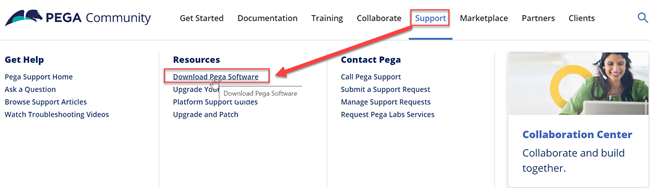 From the Pega Community Support menu, see Resources and click Download Pega Software.