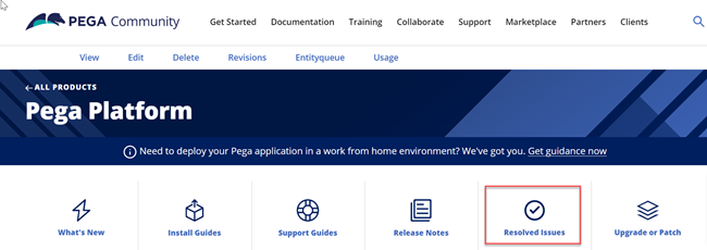 From the Pega Community Documentation menu, go to Documentation and the Pega Platform product page to see the icon for Resolved Issues.