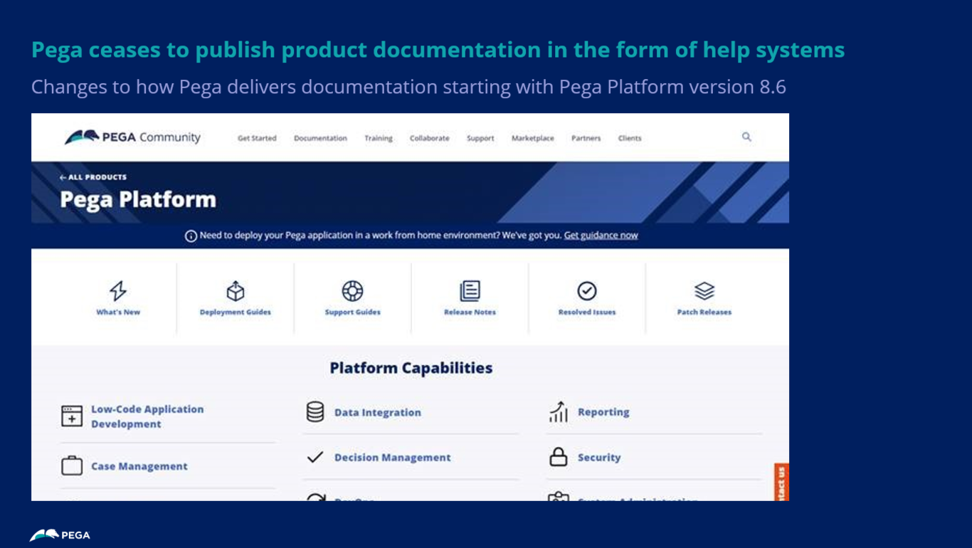 Pega ceases to publish product documentation in the form of help systems